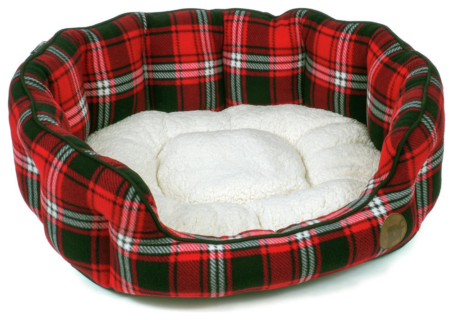Petface Red Tartan Oval Dog Bed - Medium