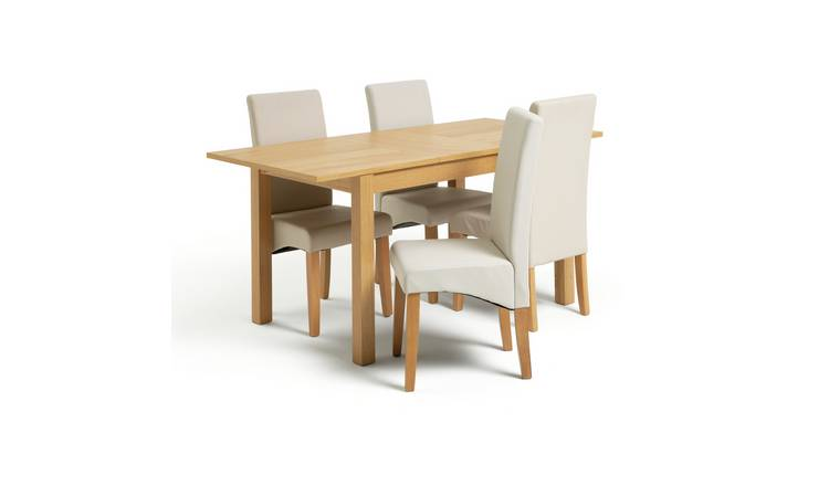 Habitat Clifton Oak Extending Table & 4 Cream Chairs