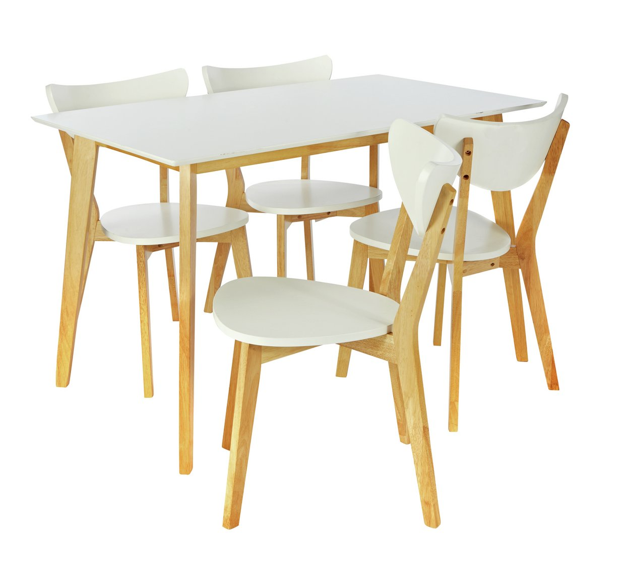 Argos home harlow dining table and 4 chairs white