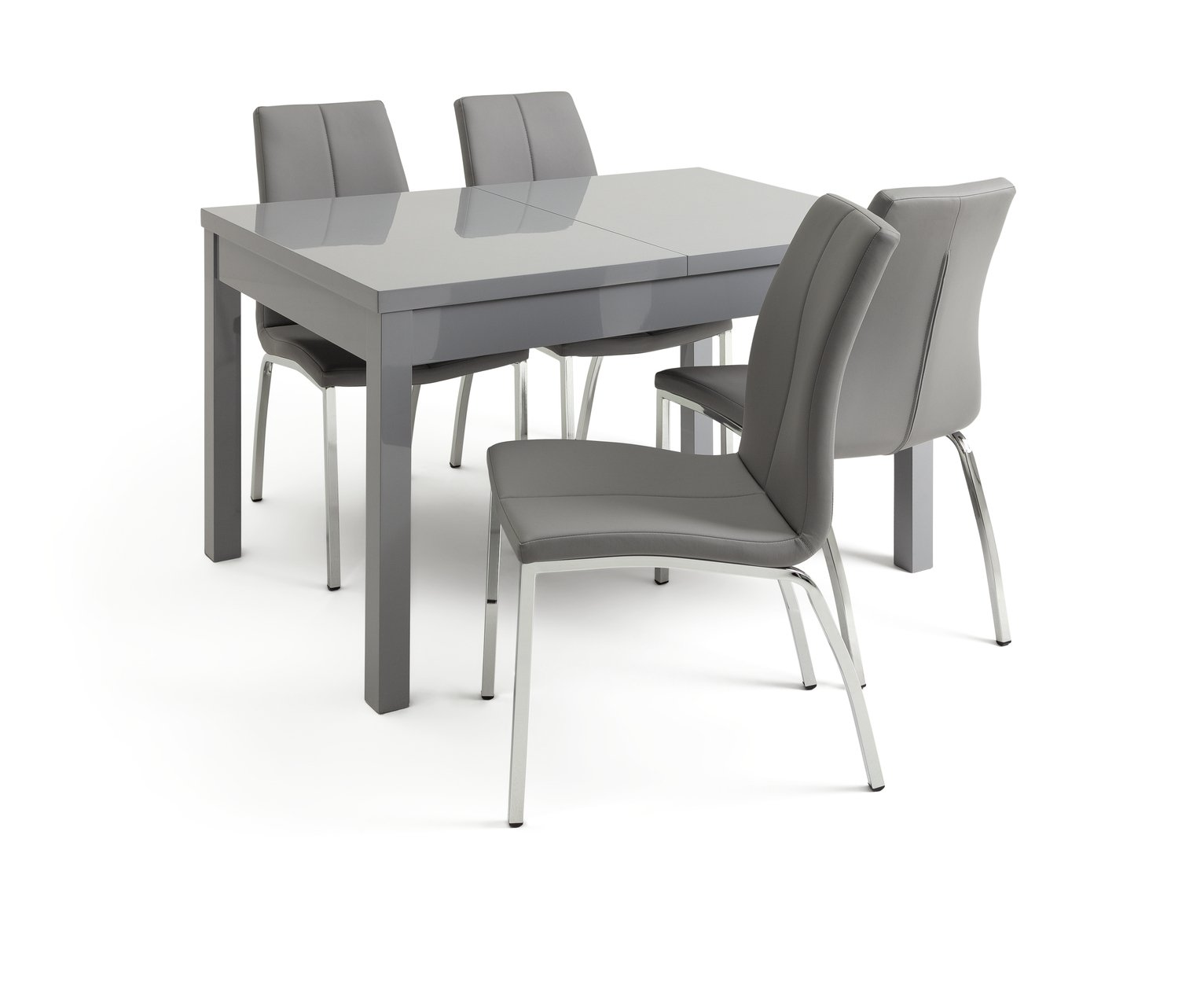 Argos Home Lyssa Extendable Grey Table & 4 Milo Chairs -Grey