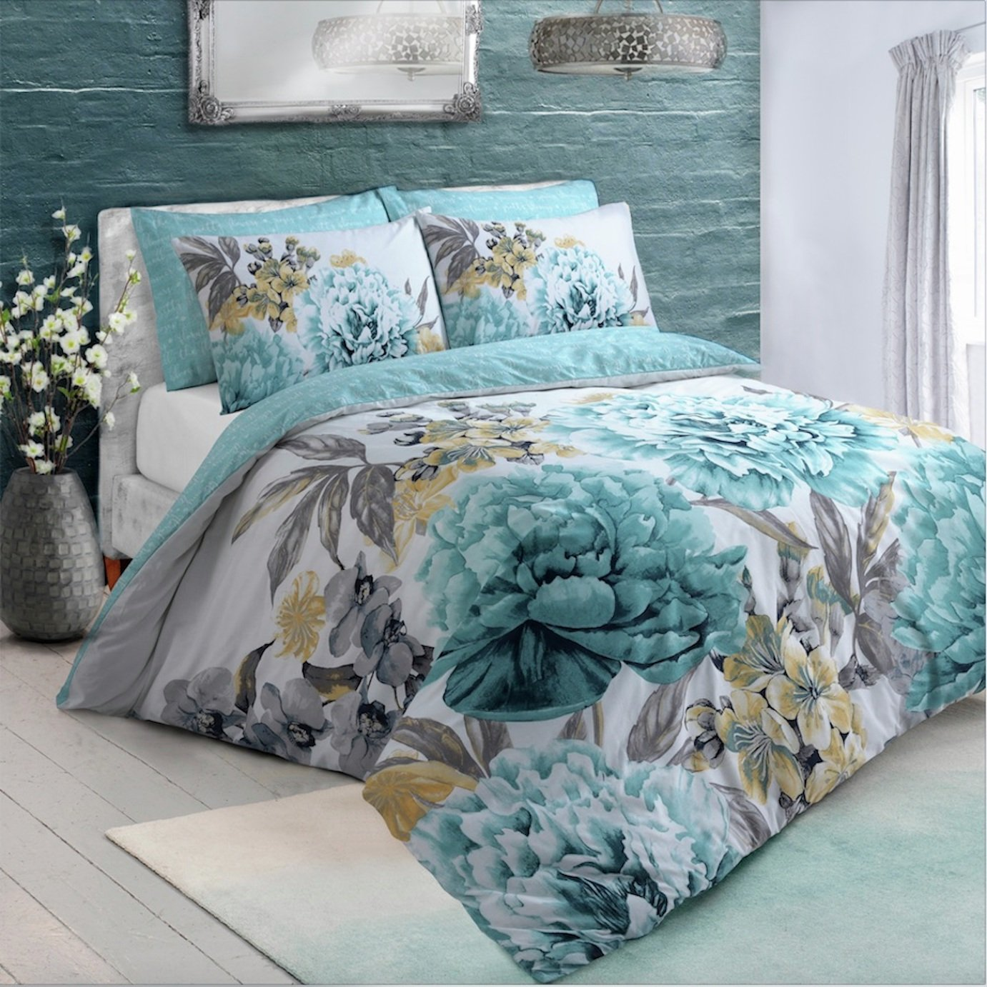 Argos Home Duck Egg Floral Bloom Bedding Set - Single