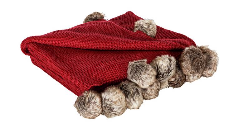 Buy Sainsbury\'s Home Knitted Pom Pom Throw - Red | Blankets and throws |  Argos