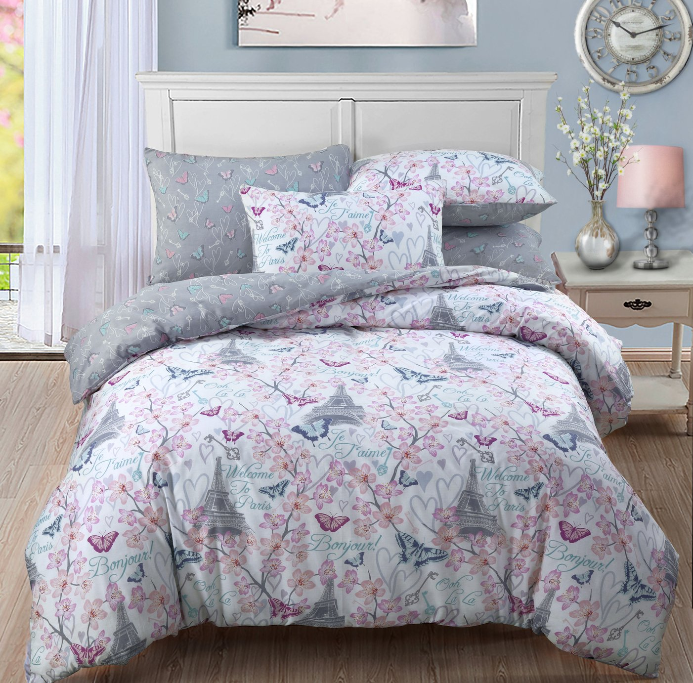 cherry blossom bedding set double. Black Bedroom Furniture Sets. Home Design Ideas