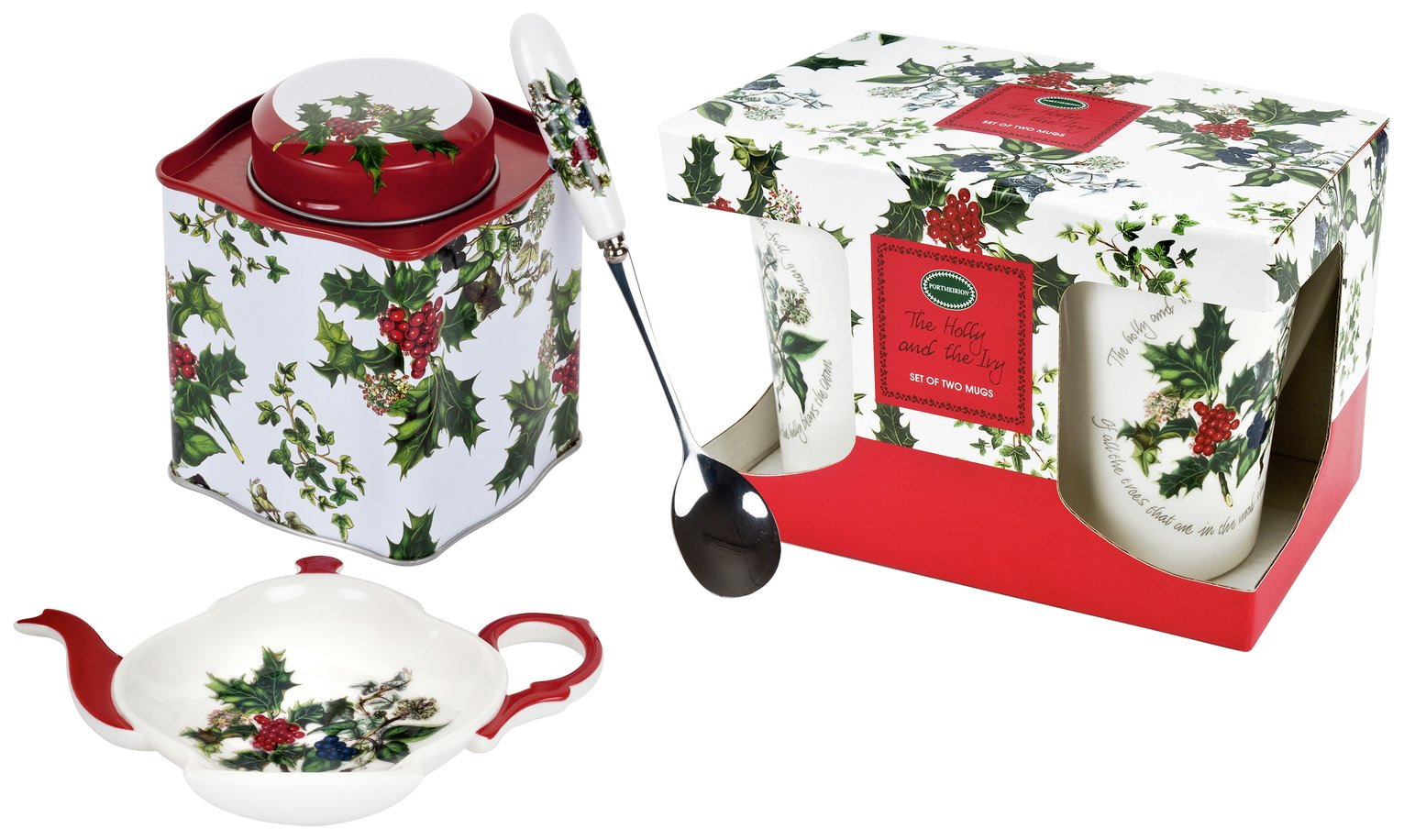 Portmeirion Holly & the Ivy Mug and Tea Caddy Set