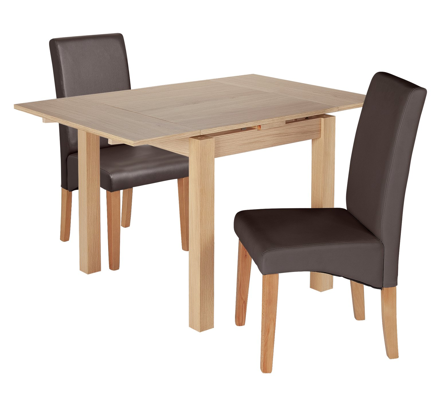 Argos Home Clifton Oak Extending Table & 2 Chocolate Chairs