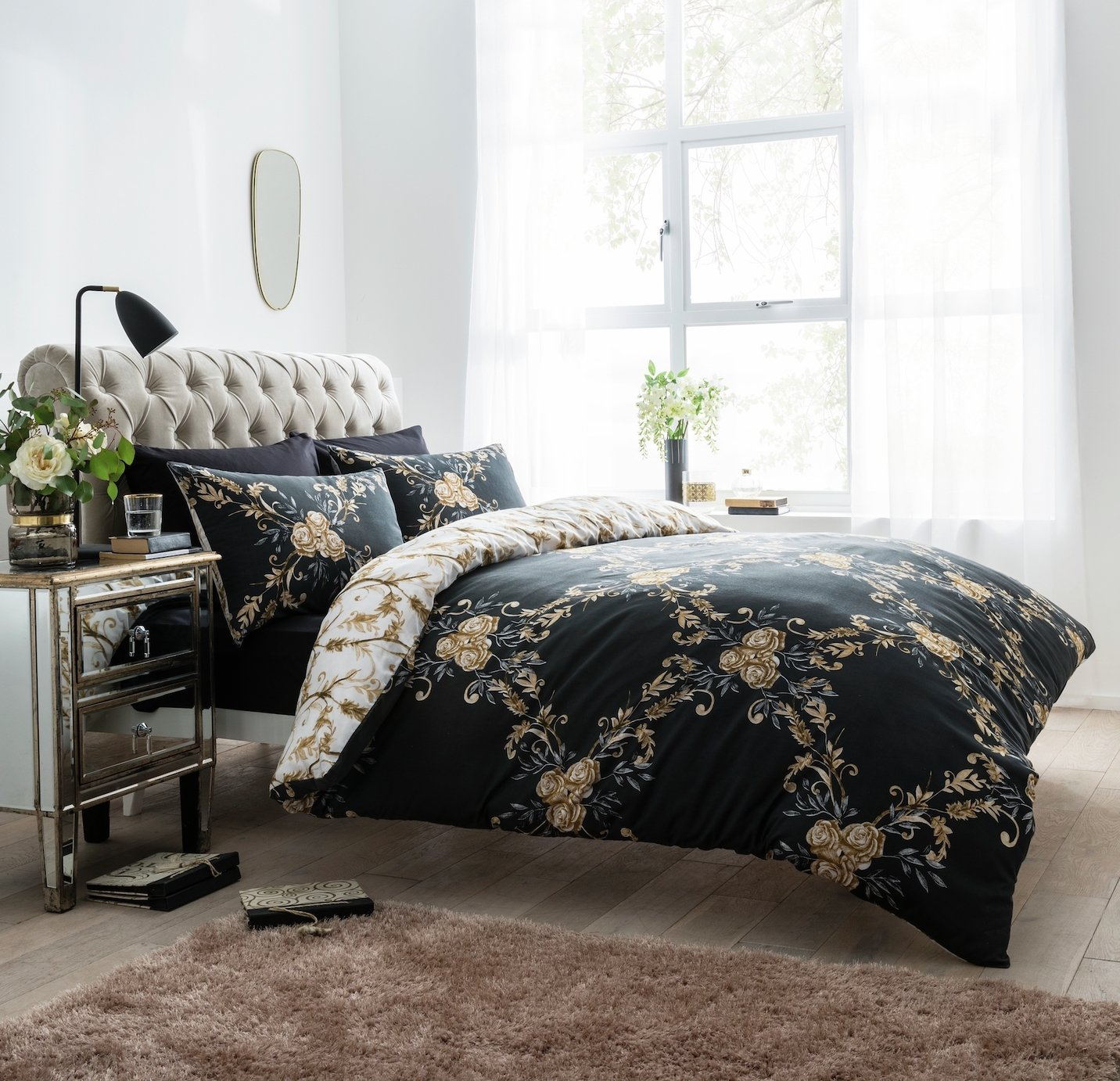 Argos Home Black Floral Damask Bedding Set - Single