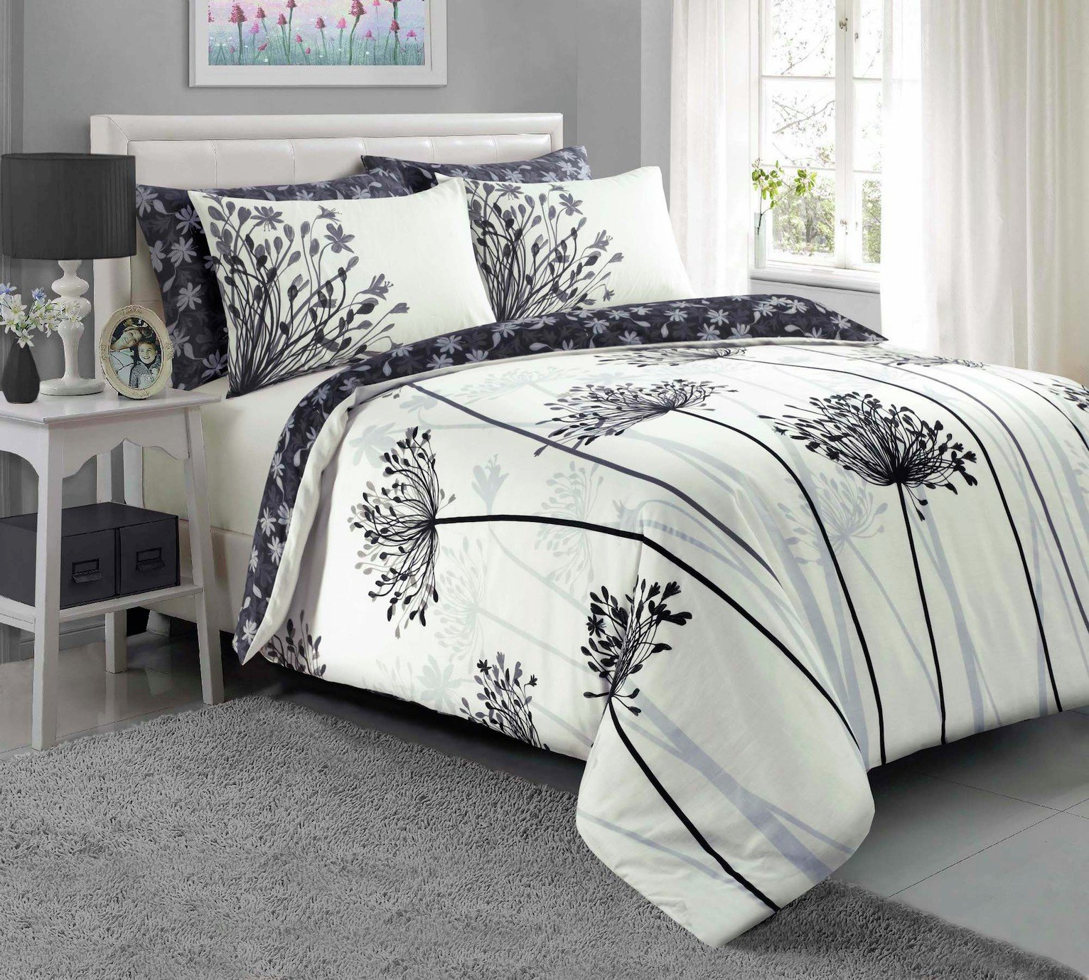 Argos Home Grey Meadow Bedding Set - Single