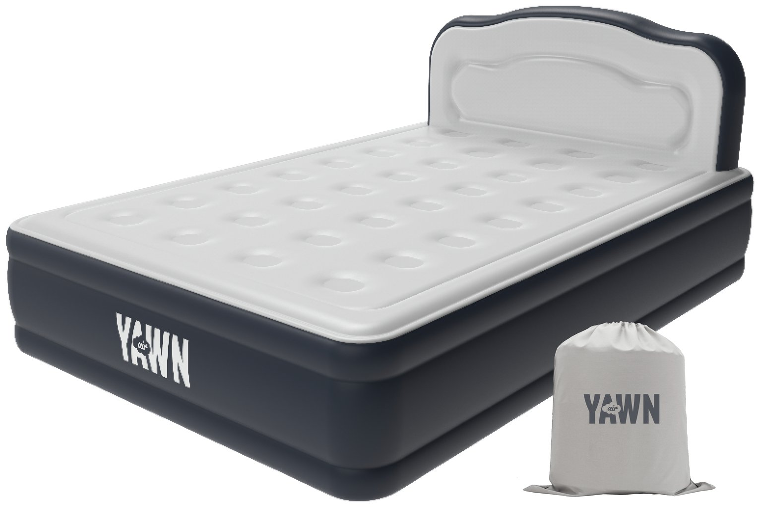 Yawn Luxury Raised Air Bed With Headboard - Double