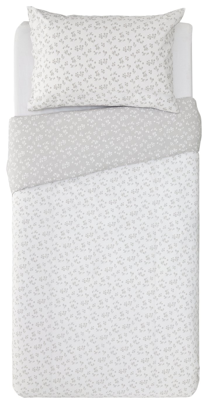Argos Home Dove Grey Ditsy Floral Bedding Set - Single
