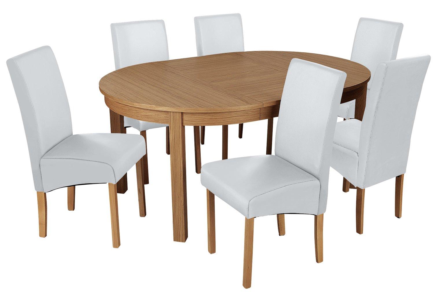 Argos Home Clifton Oak Extending Table & 6 Grey Chairs