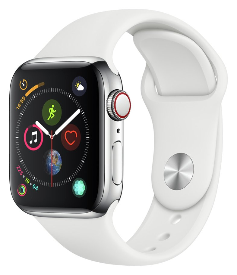 Apple Watch S4 Cell 40mm - Stainless Steel /White Sport Band