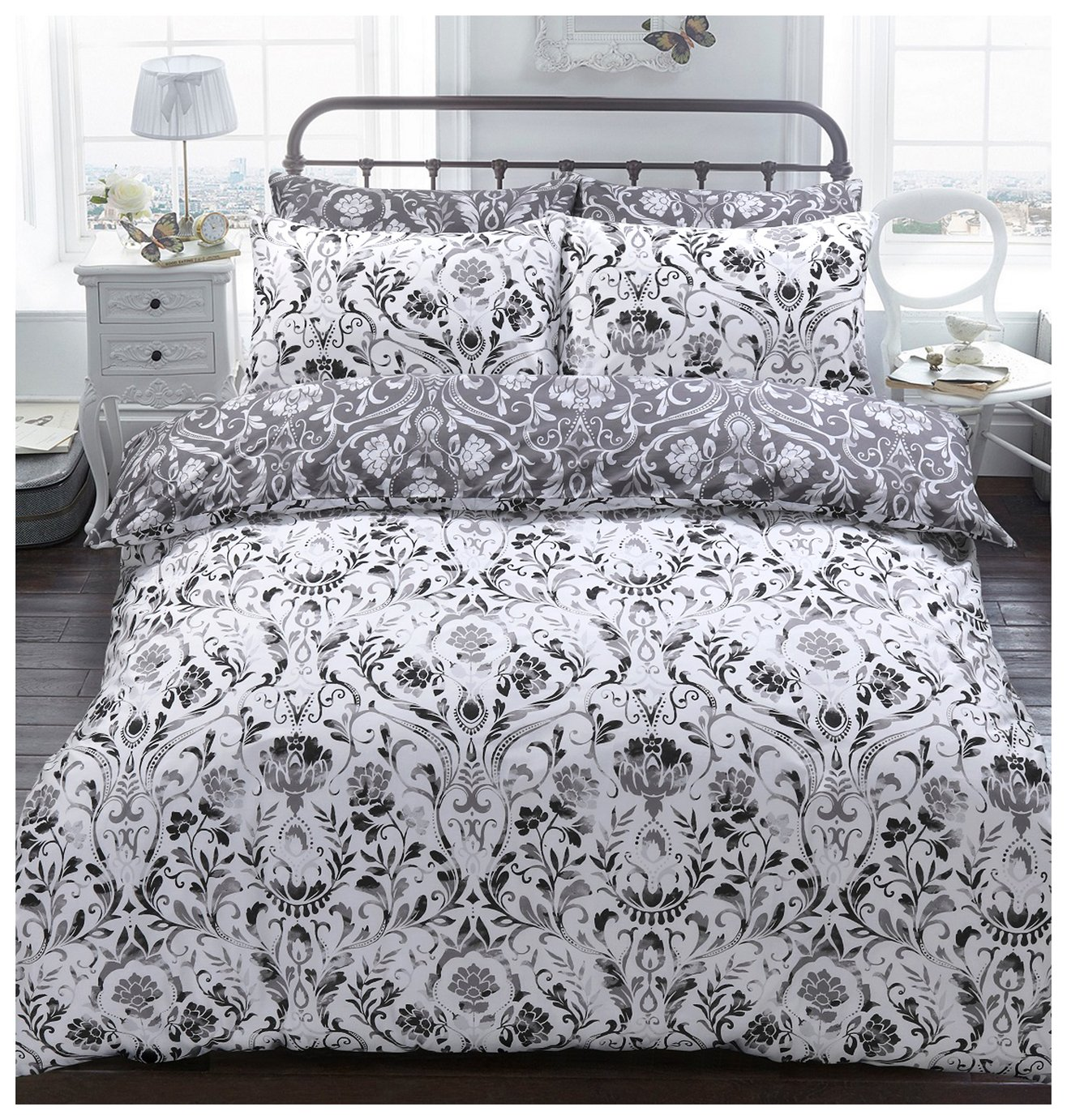 Argos Home Monochrome Painted Damask Bedding Set - Kingsize