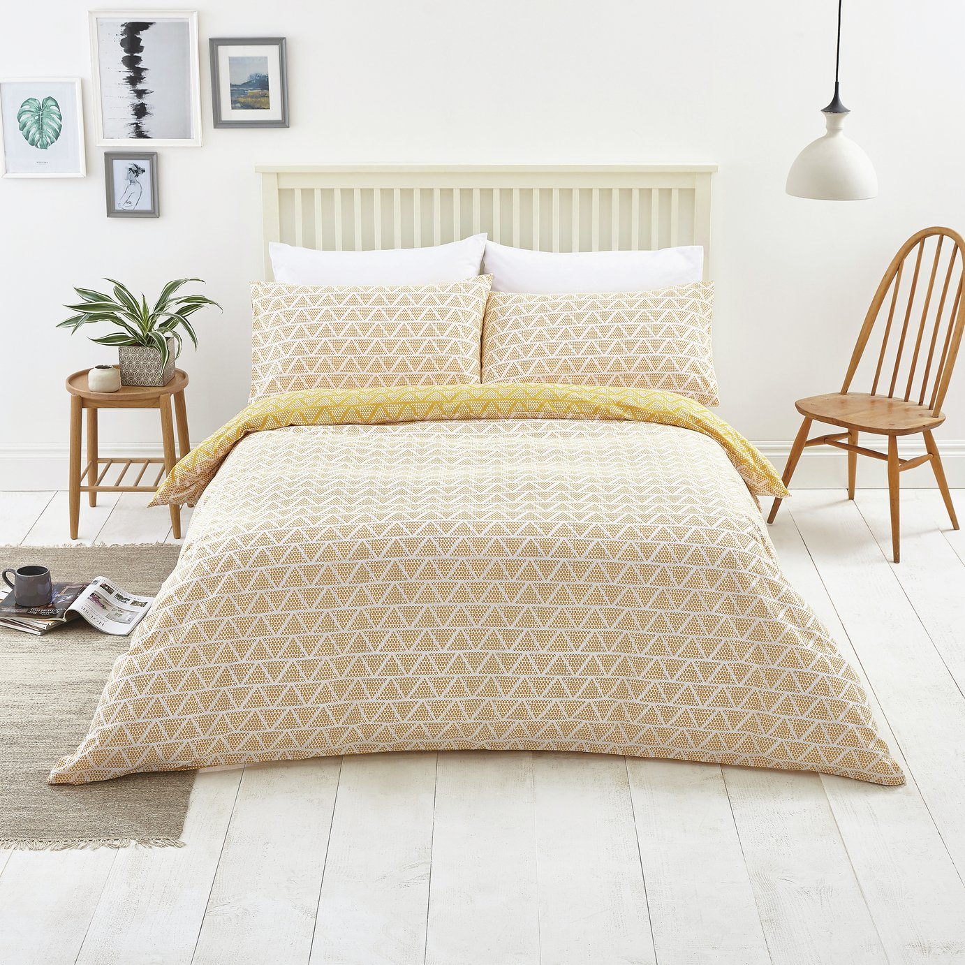 Argos Home Mustard Zig Zag and Dot Bedding Set - Kingsize