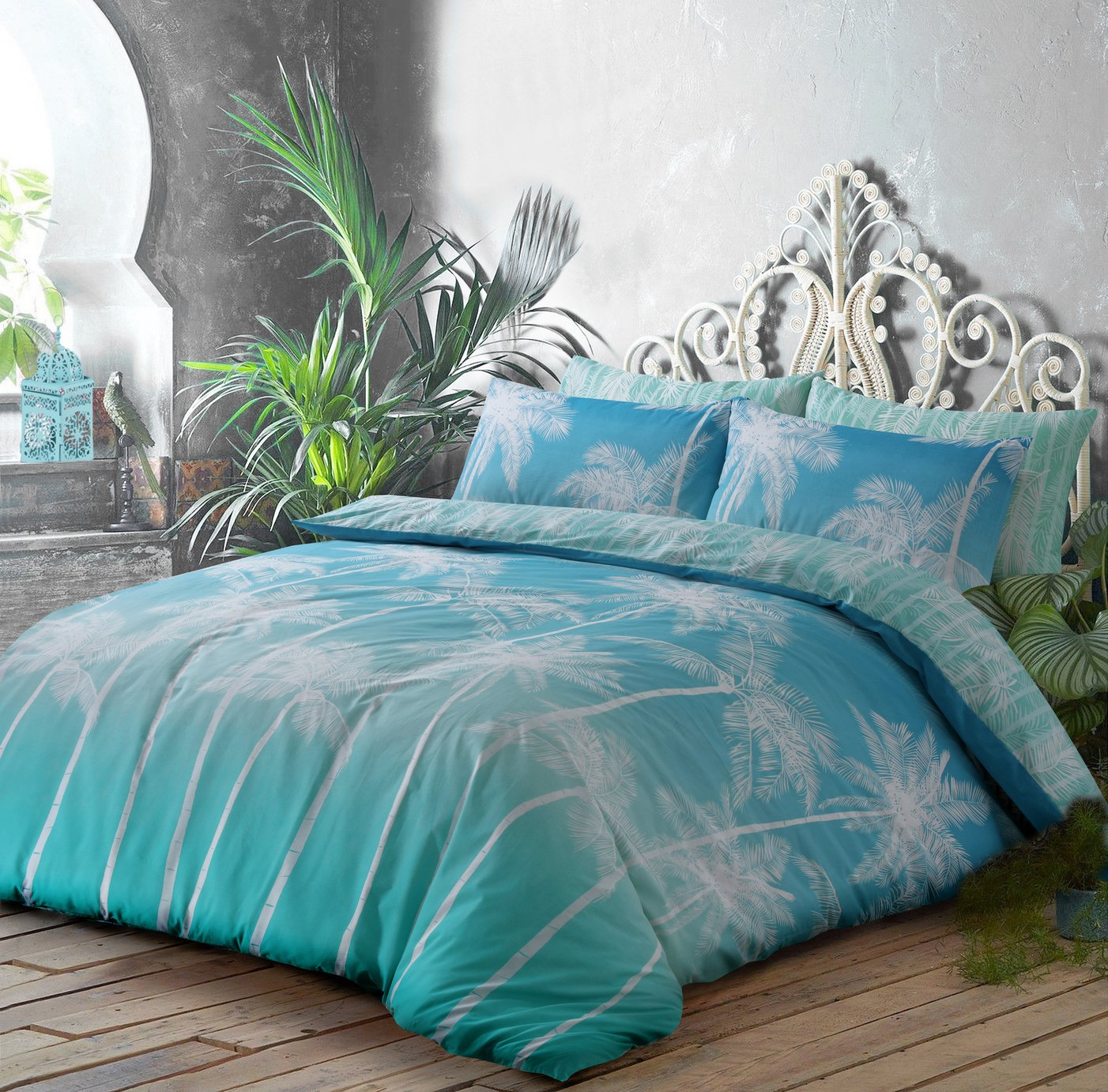 Argos Home Teal Ombre Palm Bedding Set - Single