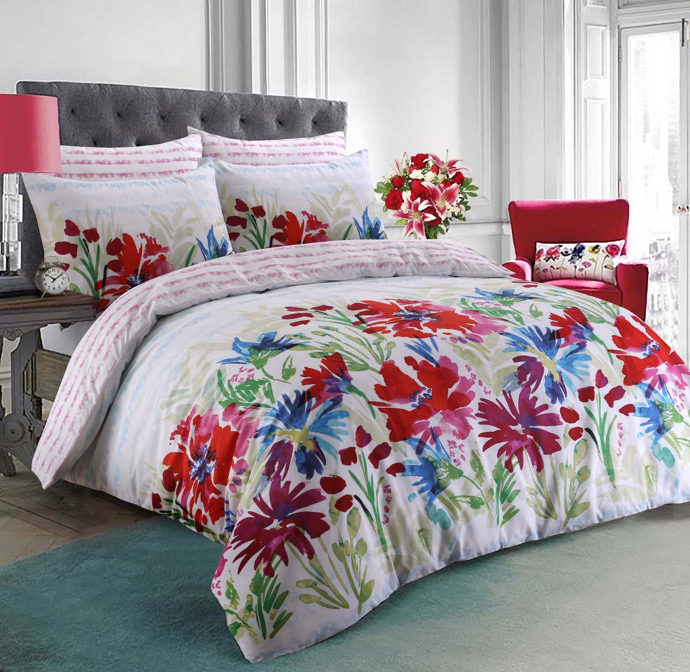 Argos Home Bright Garden Flowers Bedding Set - Double