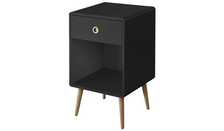 Softline 1 Drawer Bedside Table - Black