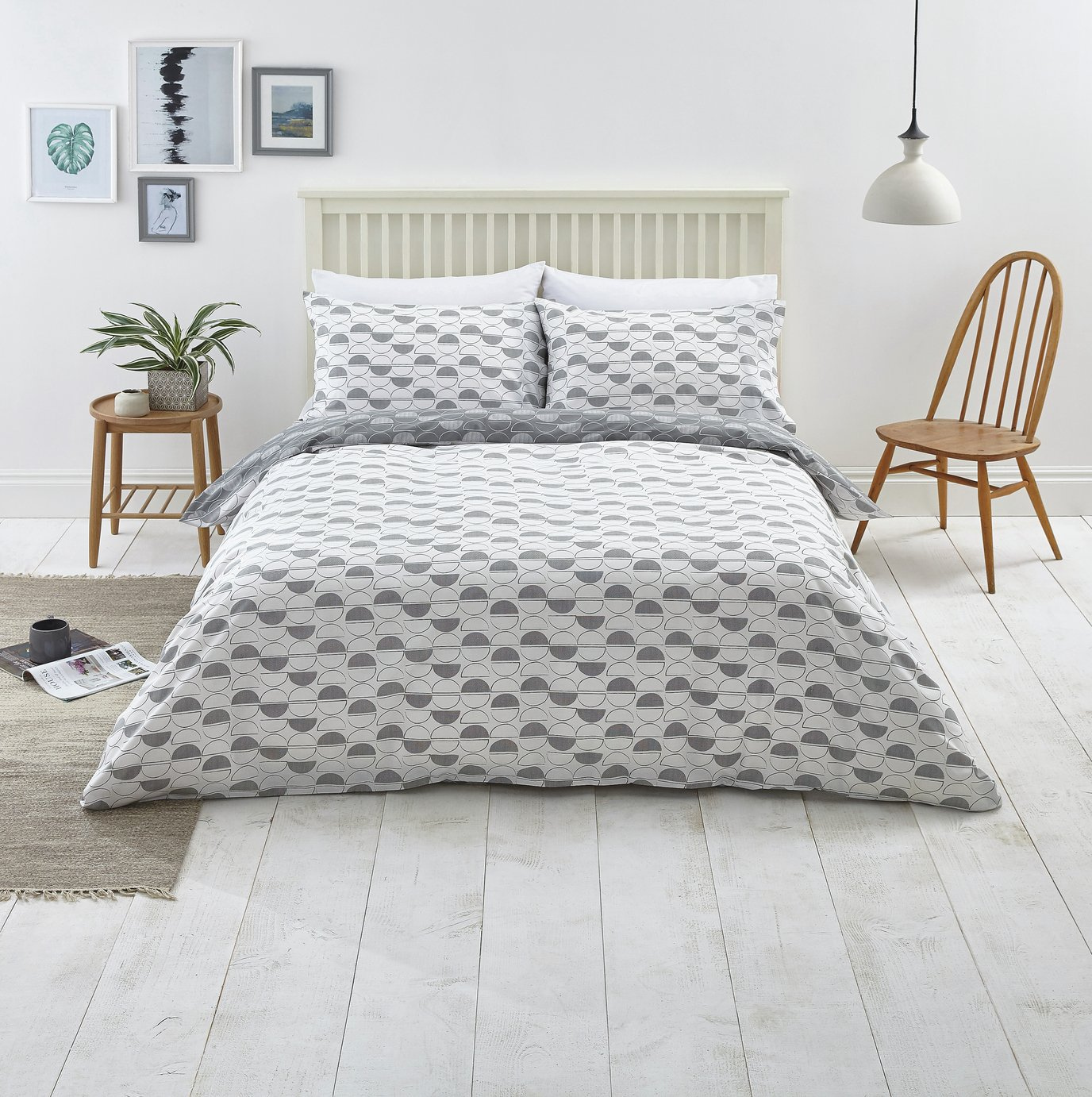 Argos Home Slate Circle Print Bedding Set - Kingsize