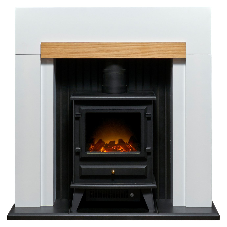 Adam Salzburg 2kW Electric Stove Fire Suite - White & Oak