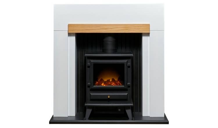 Buy Adam Salzburg 2kw Electric Stove Fire Suite White Oak
