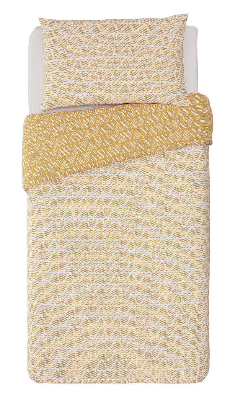 Argos Home Mustard Zig Zag and Dot Bedding Set - Single