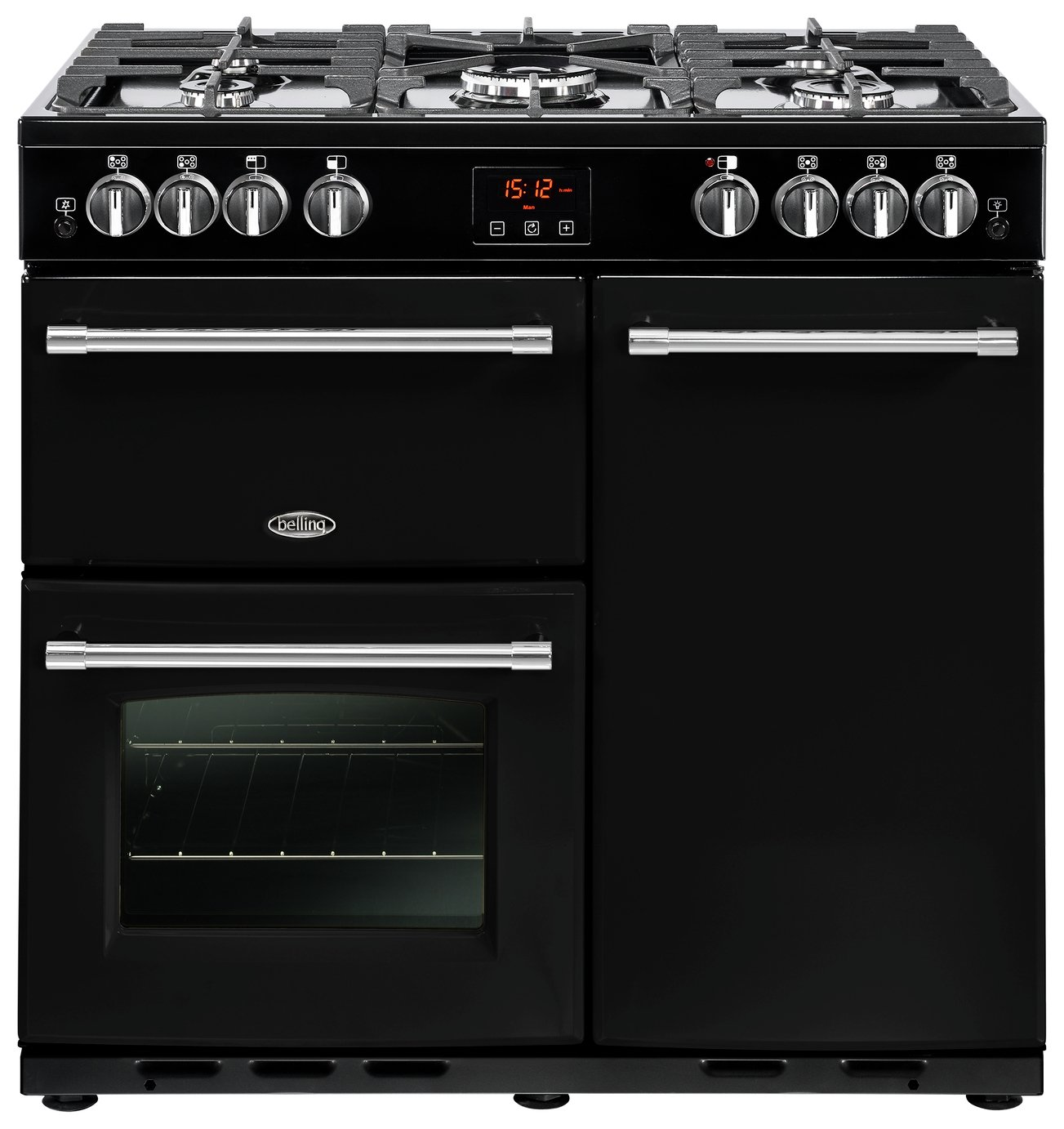 Belling Farmhouse 90G Dual Fuel Range Cooker - Black