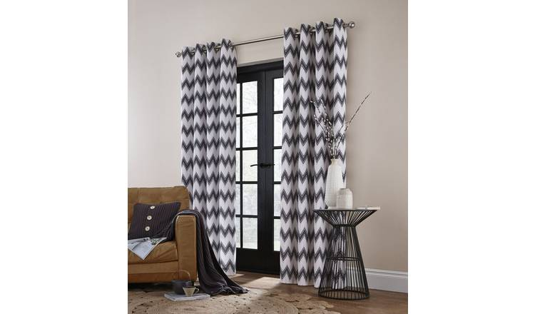 Catherine Lansfield ZigZag Eyelet Curtains 168x137- Charcoal