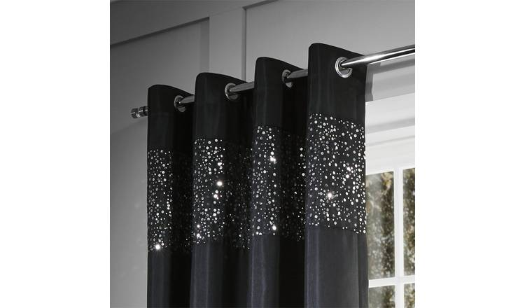 Catherine Lansfield Glitzy Eyelet Curtains 168x229cm - Black