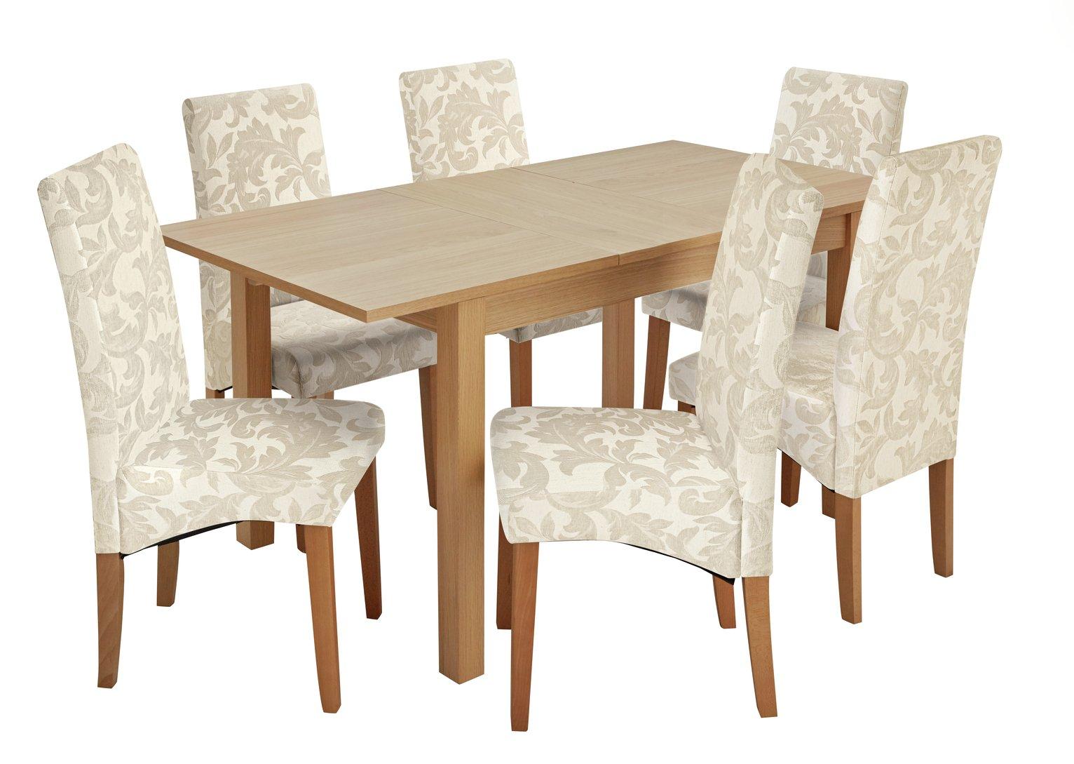 Argos Home Clifton Extending Table & 6 Cream Damask Chairs