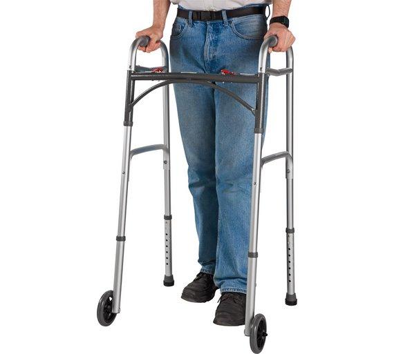 folding walking frame with wheels height adjustable - Zimmer Frame