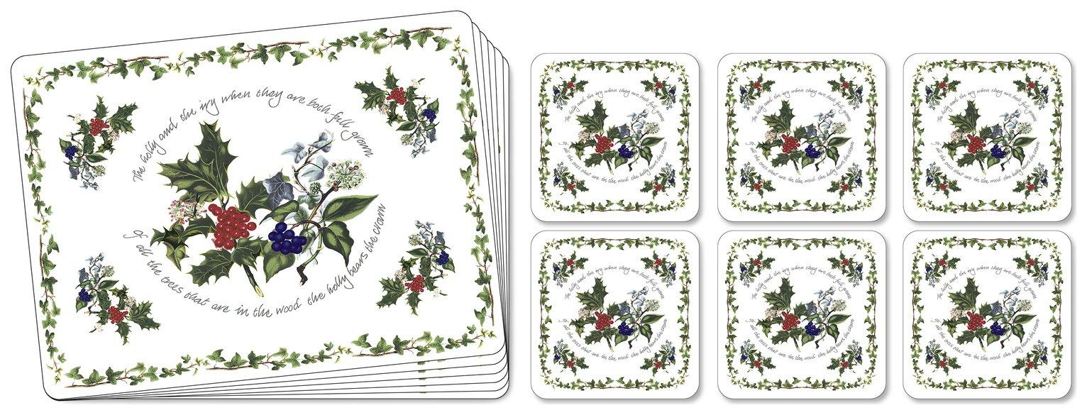 Pimpernel Set of 6 The Holly and the Ivy Mats and Coasters