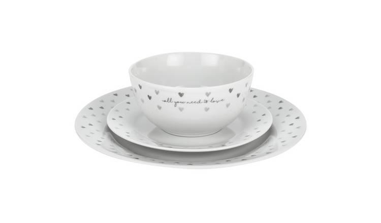 Buy Argos Home 12 Piece Grey Hearts Dinner Set Dinnerware And