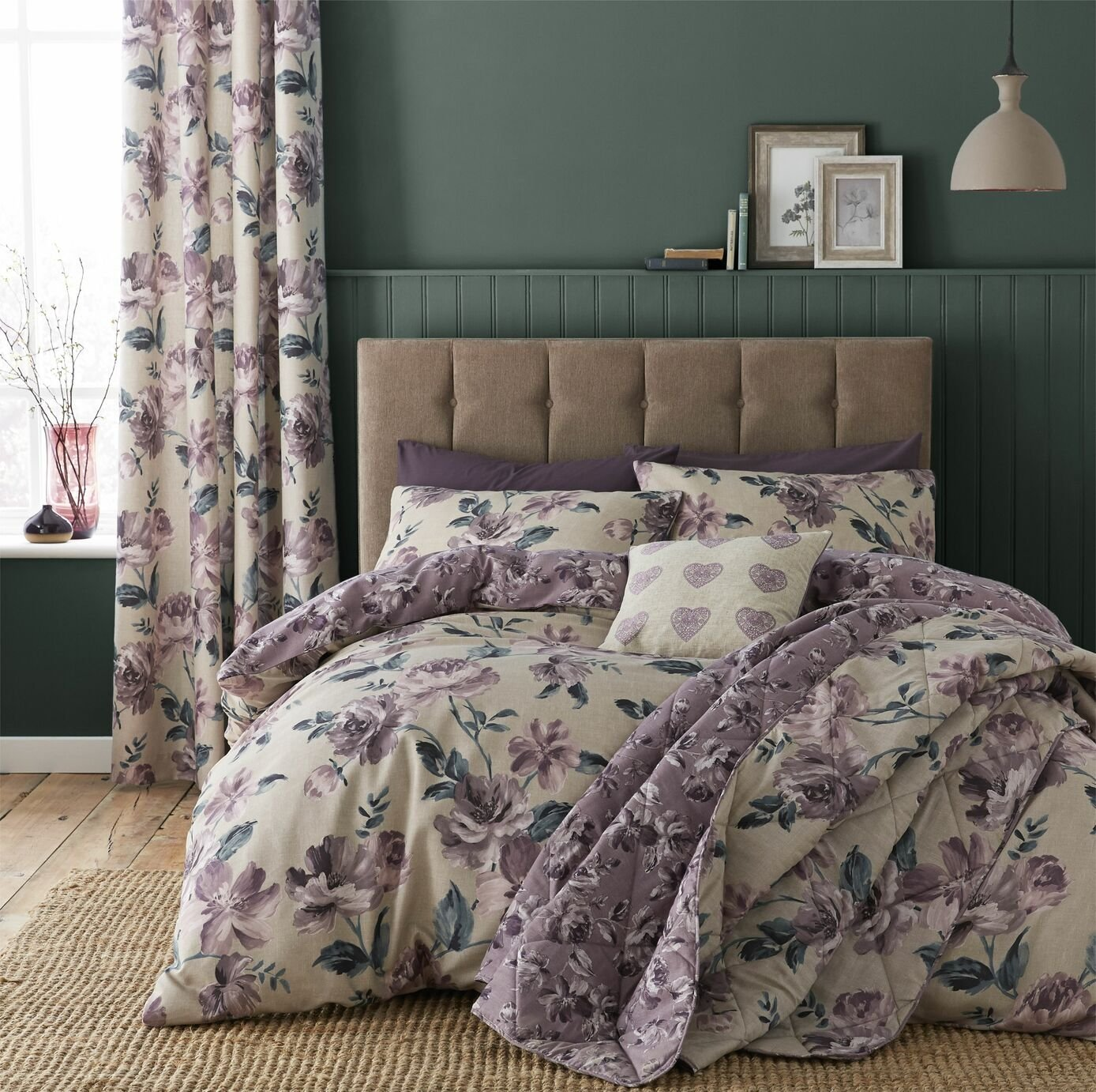 Catherine Lansfield Painted Floral Plum Bedding Set – King