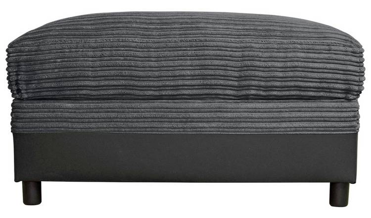 Argos Home Harry Large Fabric Storage Footstool - Charcoal