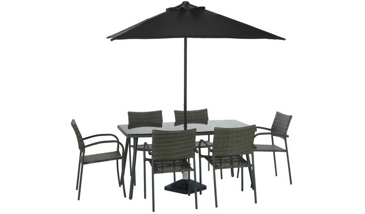 Argos Home Cusco Rattan 6 Seater Dining Set - Brown