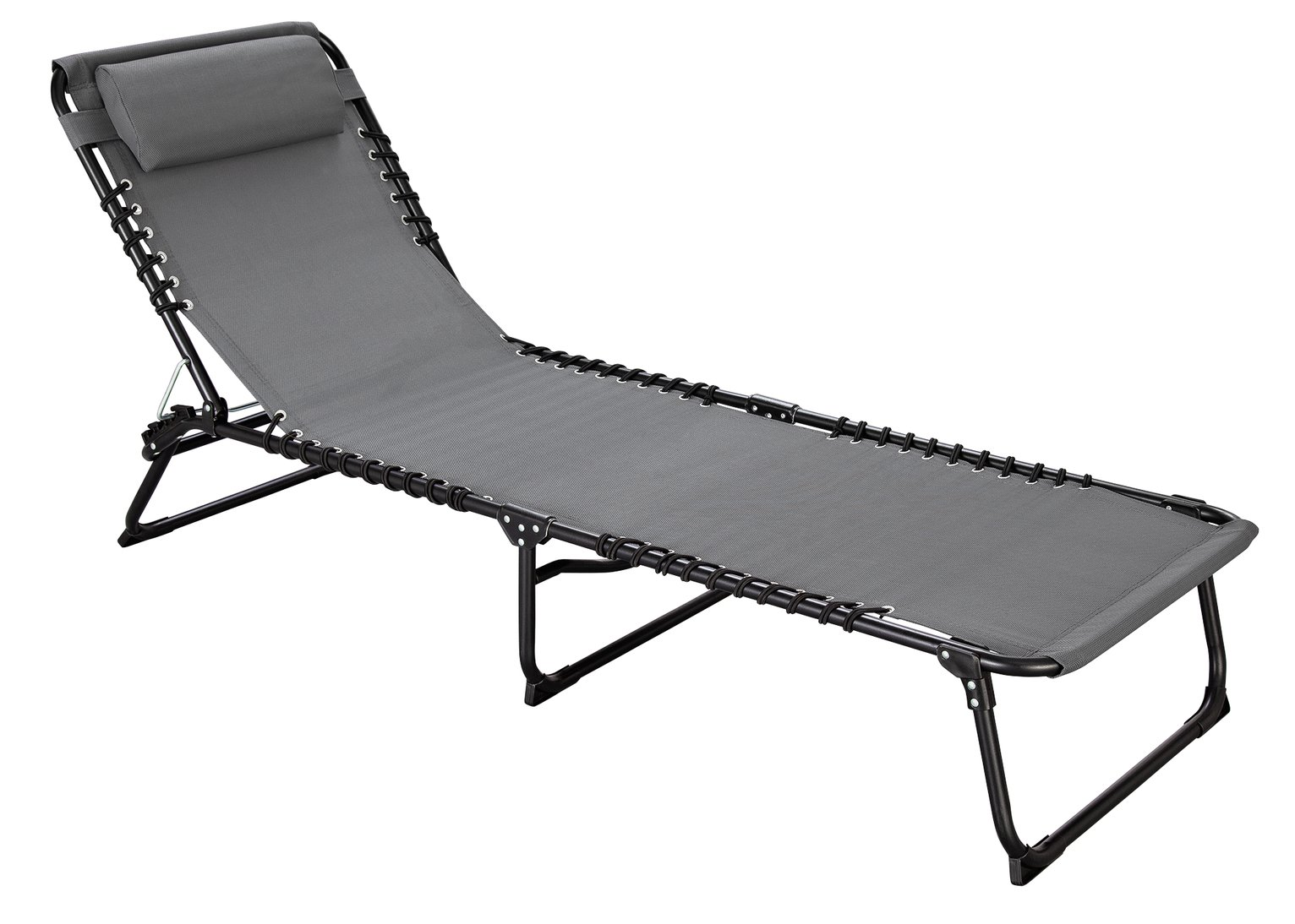 Argos Home Metal Set of 2 Sun Loungers - Grey