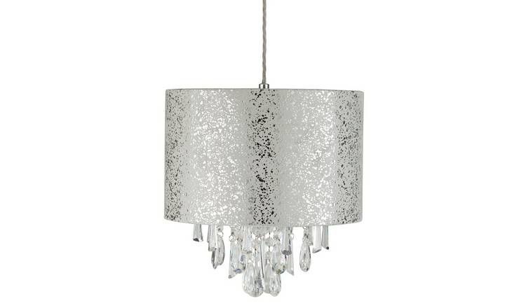 Argos Home Fil Suede & Beaded Silver Foil Shade