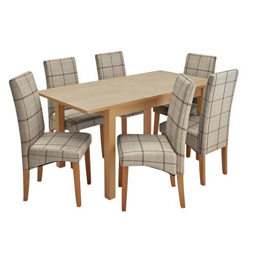 Buy Argos Home Clifton Oak Extending Table & 6 Mink Check