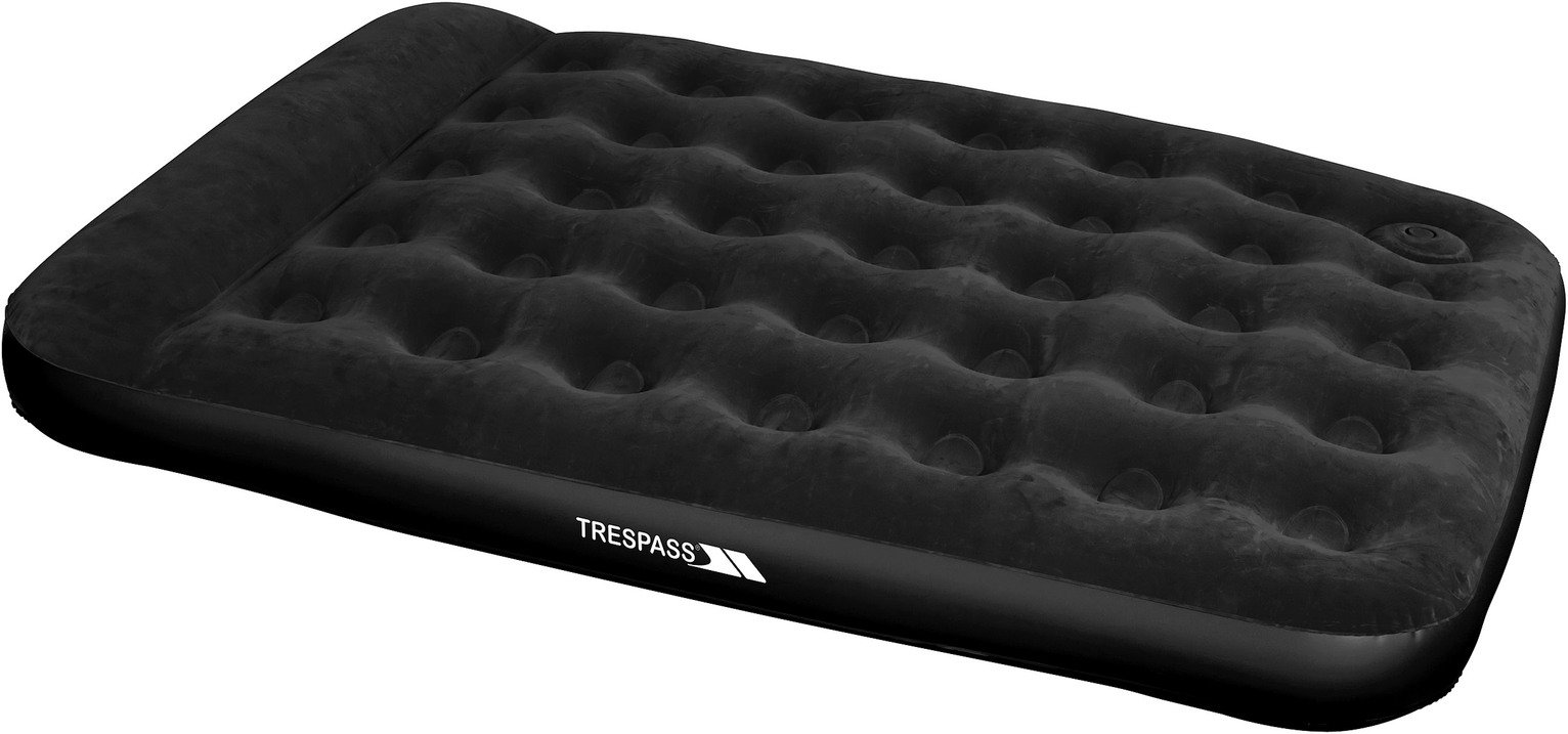 Trespass Double Flocked Air Bed with Foot Pump