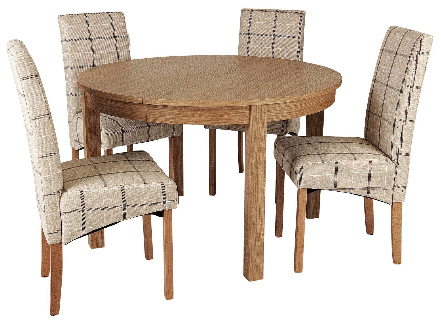 Argos Home Clifton Oak Extending Table & 4 Cream Check Chair