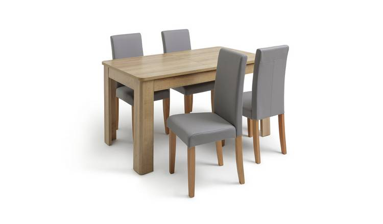 Habitat Miami Curve Extending Table & 4 Grey Chairs