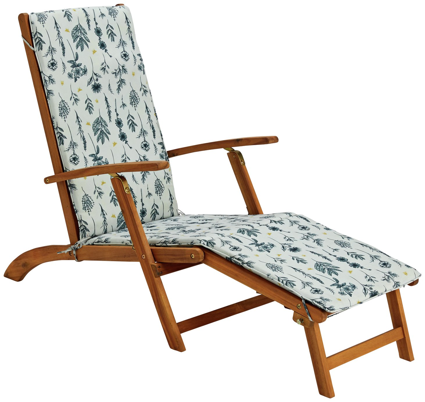 Argos Home Wooden Steamer Chair with Botanic Cushion