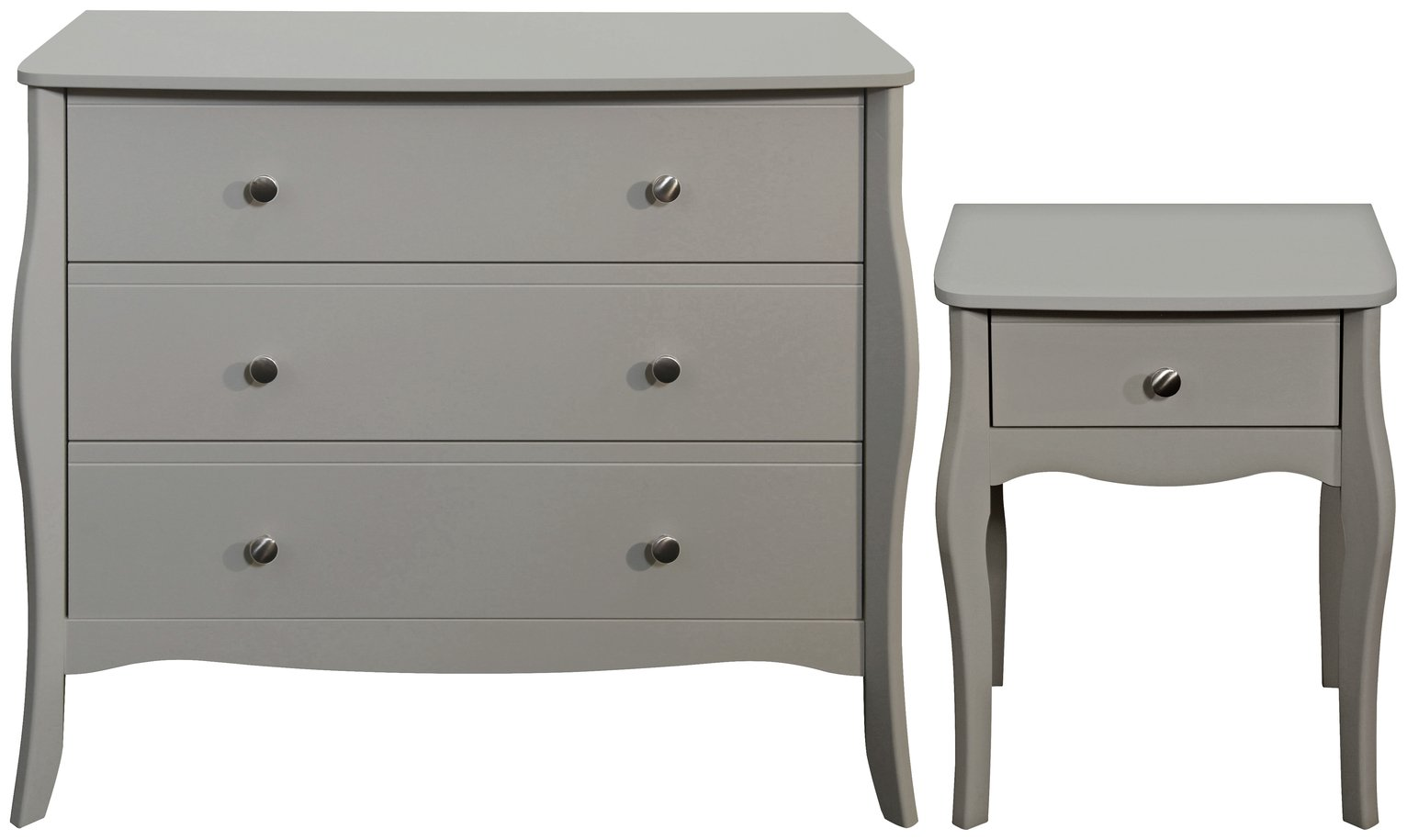 Argos Home Amelie Bedside & 3 Drawer Chest - Grey
