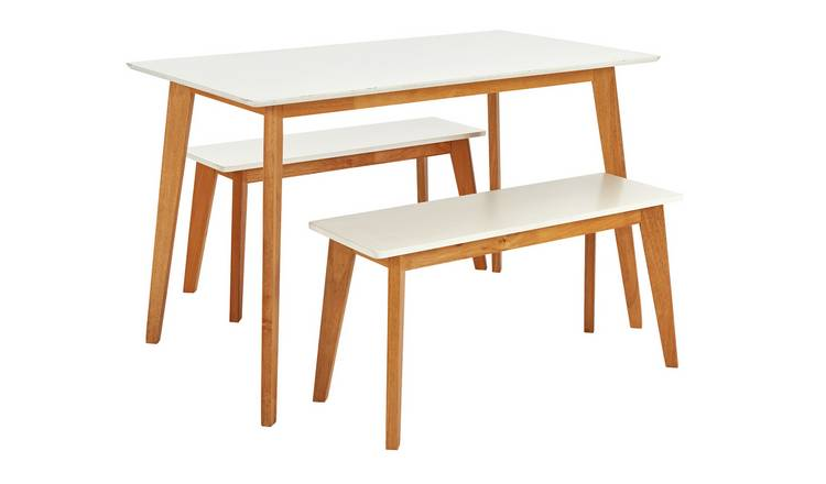 Sensational Buy Argos Home Harlow Dining Table 2 White Benches Dining Table And Chair Sets Argos Short Links Chair Design For Home Short Linksinfo
