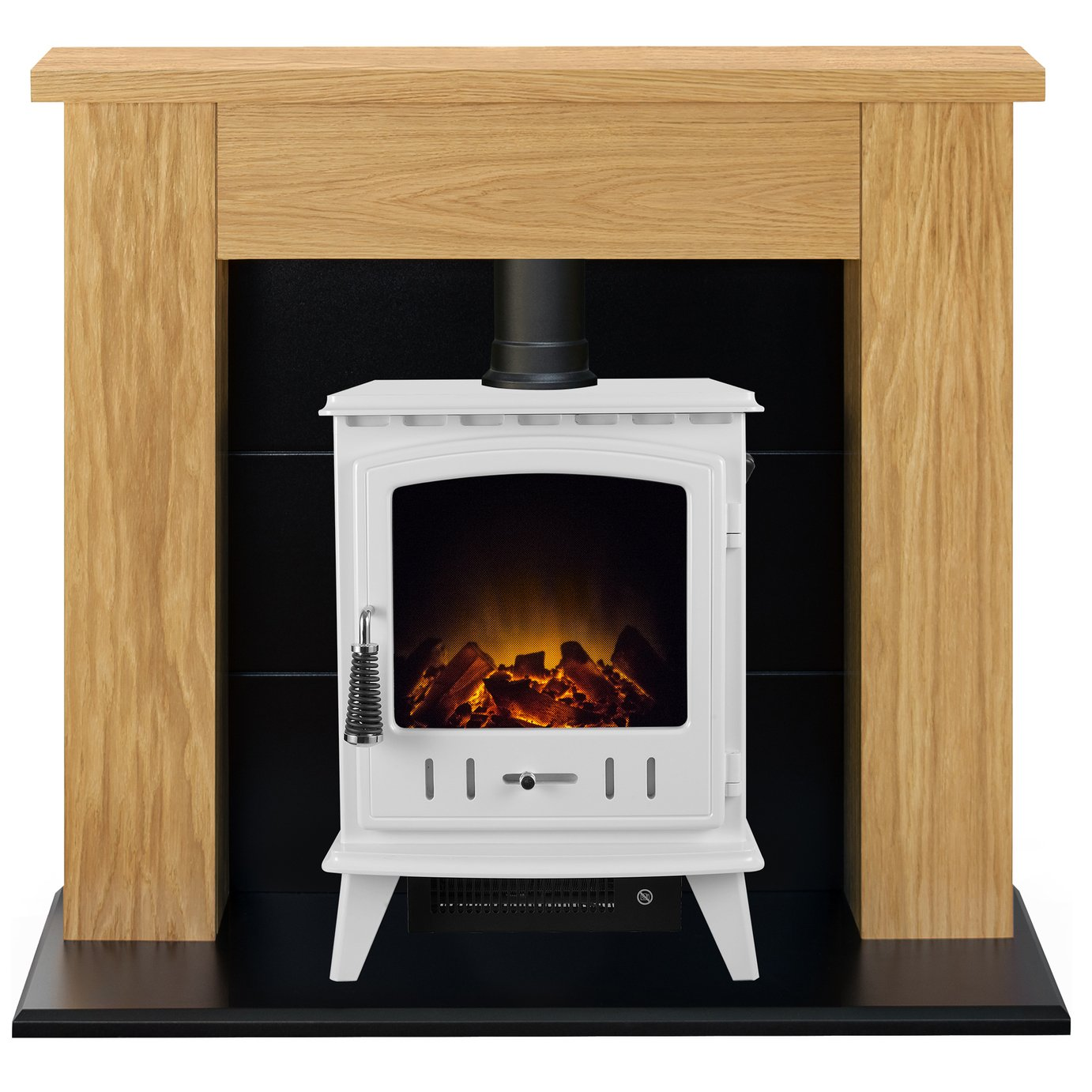 Adam Aviemore 2kW Electric Stove Fire Suite - Oak & Black