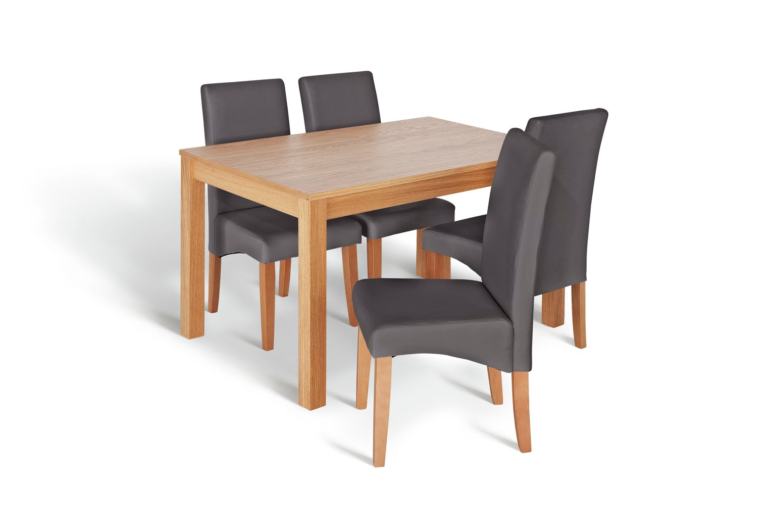Hartley Glass Dining Table And 4 Charcoal Chairs