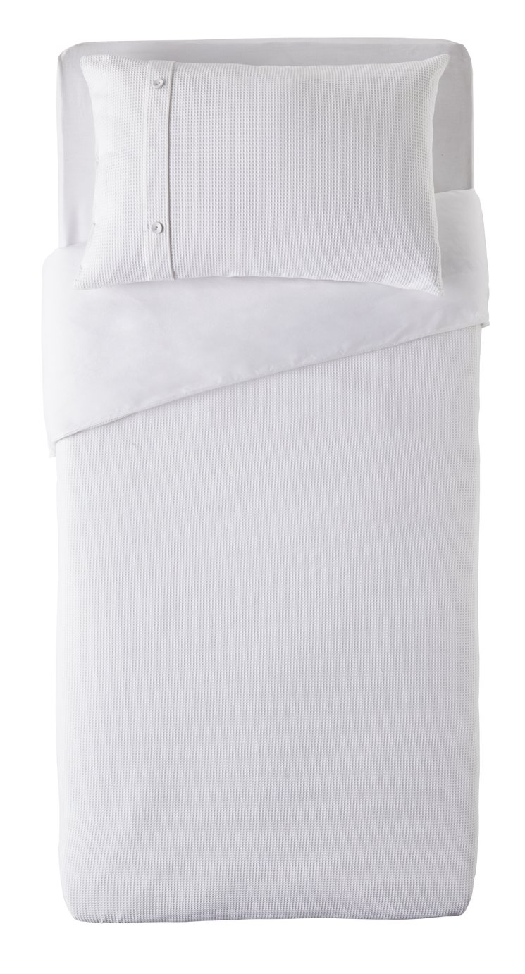 Argos Home White Waffle Cuff Bedding Set - Single