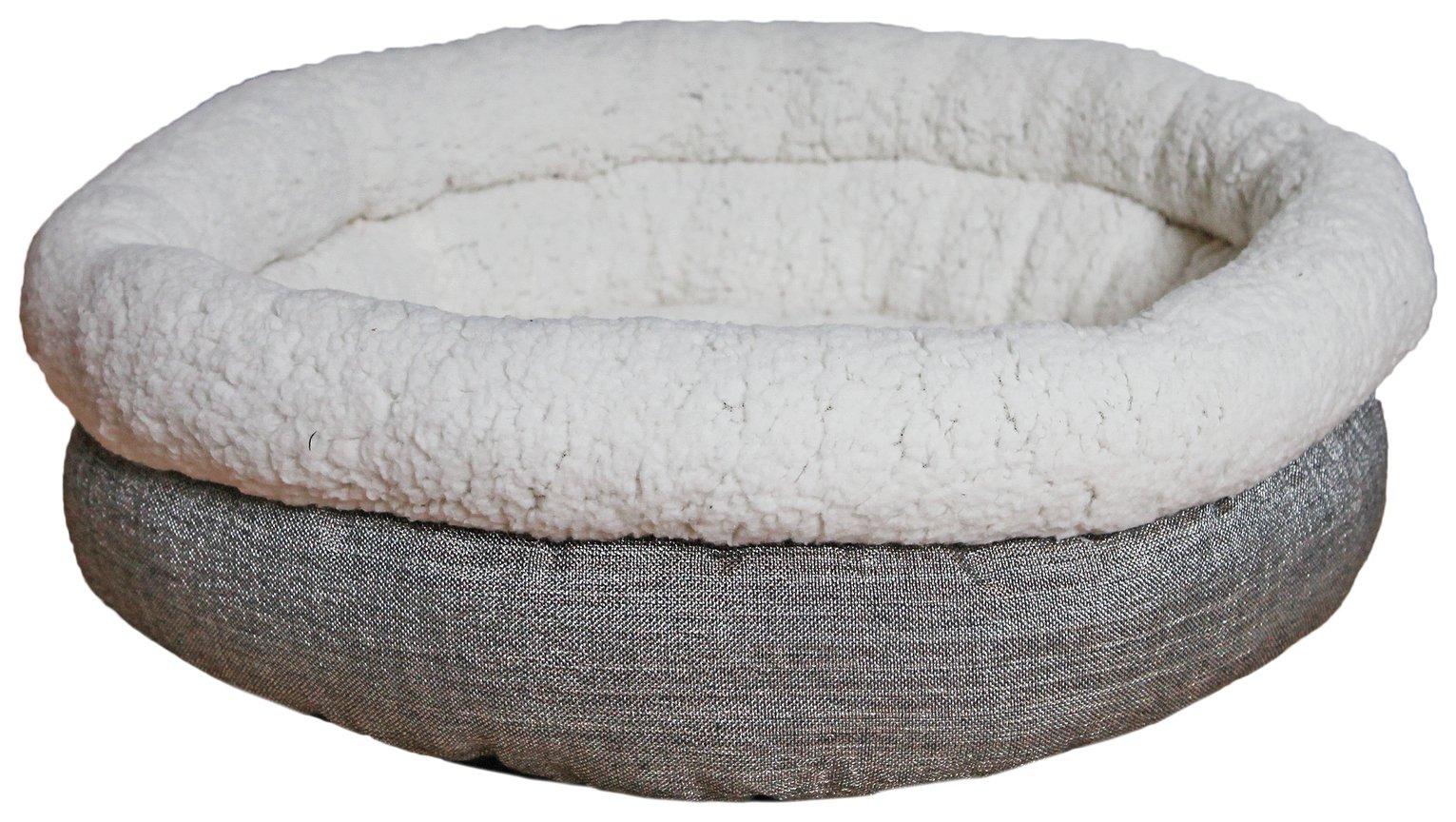 Rosewood Deep Tweed Teddy Bear Round Pet Bed - Medium
