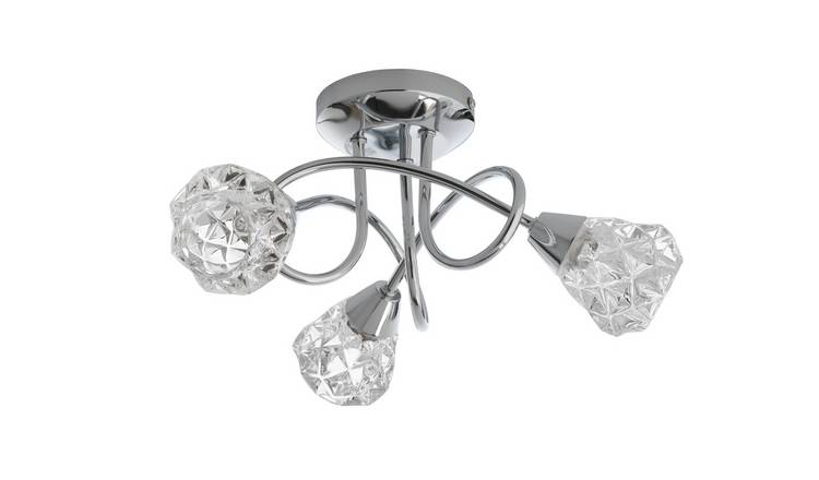 Argos Home Dico 3 Light Ceiling Light - Chrome & Glass