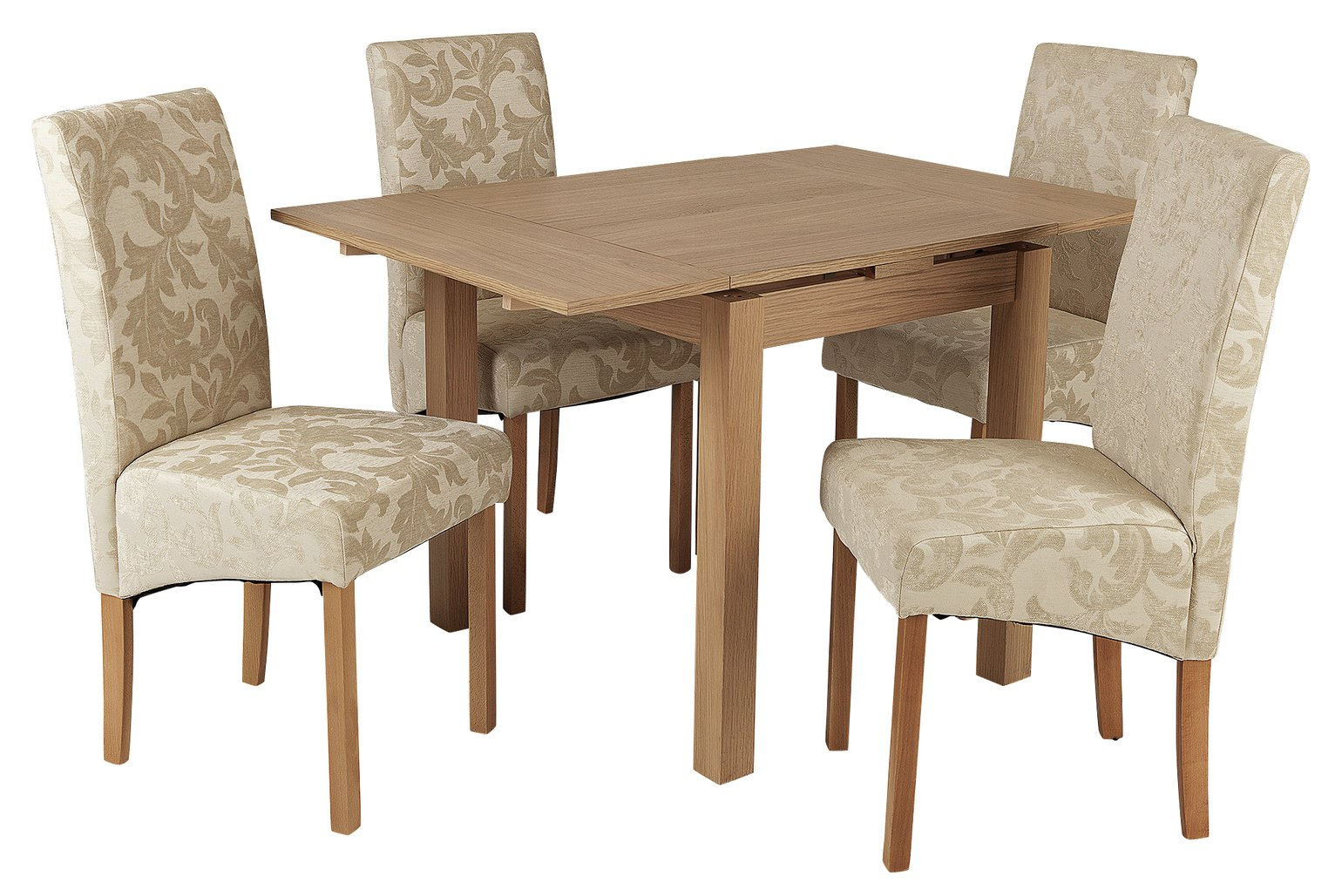Argos Home Clifton Extending Table & 4 Cream Damask Chairs