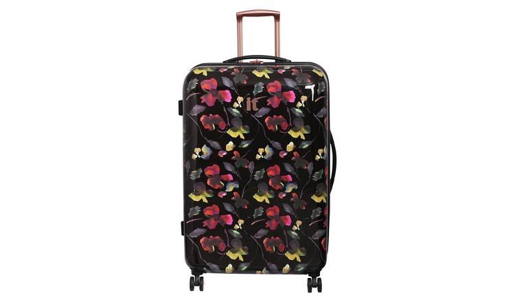 ffa9ffac1 IT Luggage 8 Wheel Black Floral Large Expandable Suitcase866/8334